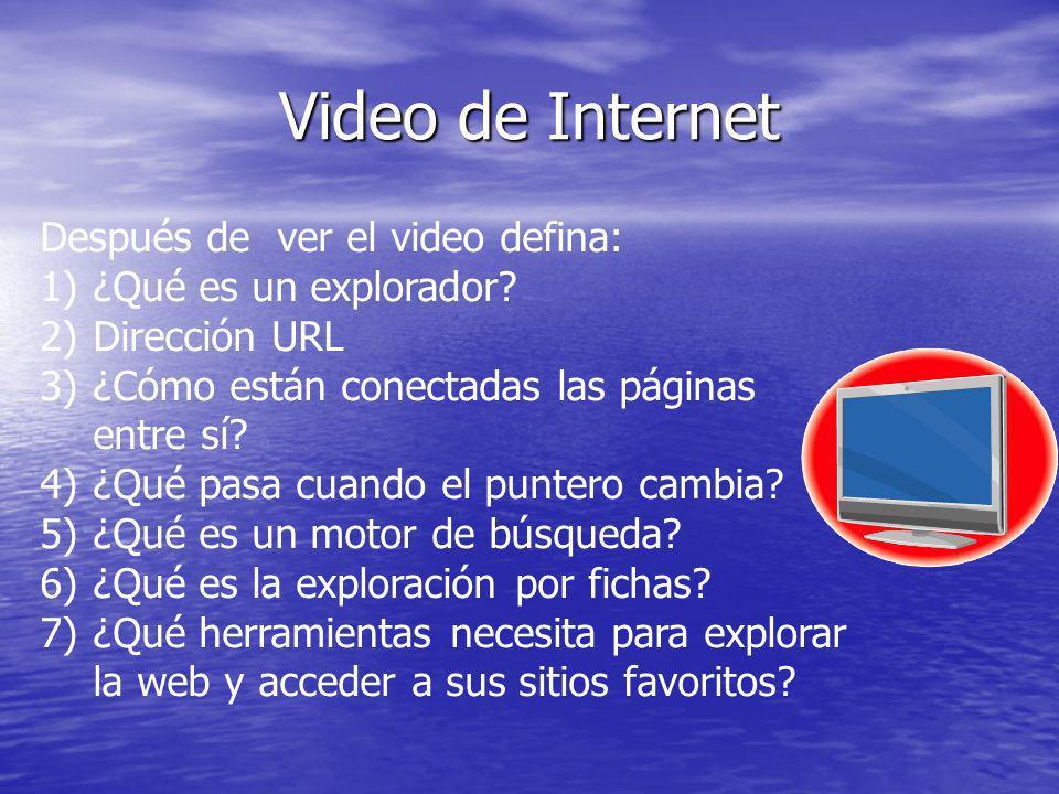 Video de Internet Después de ver el video defina: 1)¿Qué es un explorador? 2)Dirección URL 3)¿Cómo están conectadas las páginas entre sí? 4)¿Qué pasa