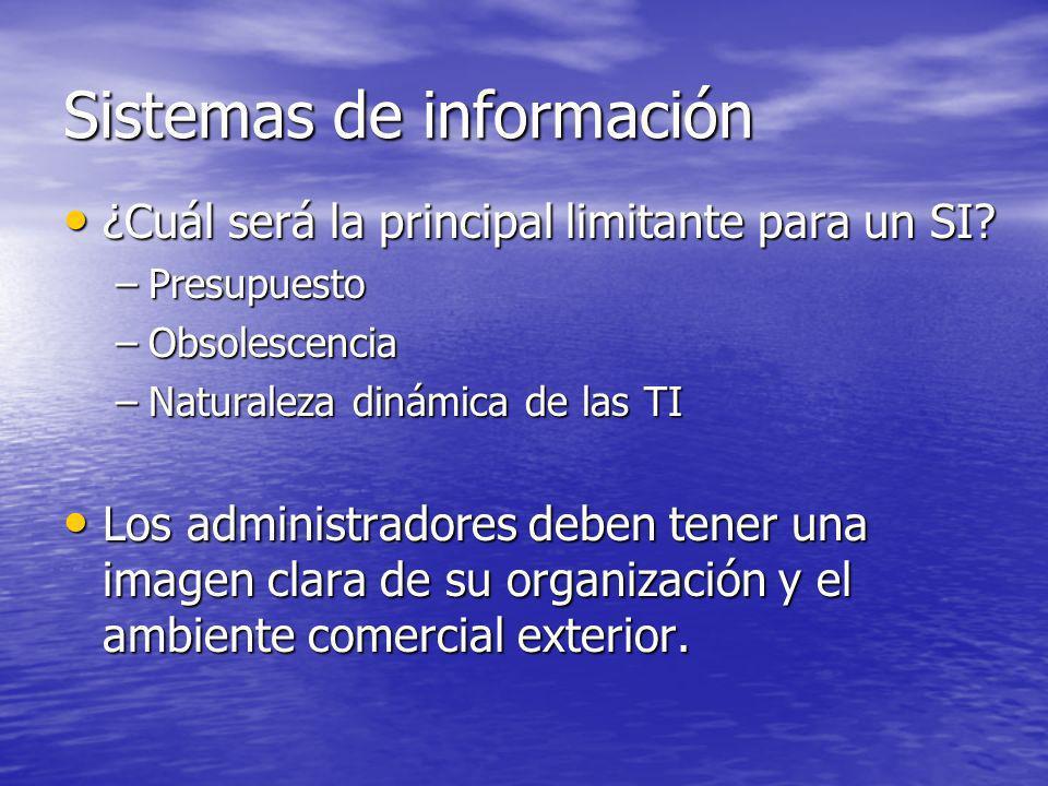 Sistemas de información ¿Cuál será la principal limitante para un SI? ¿Cuál será la principal limitante para un SI? –Presupuesto –Obsolescencia –Natur