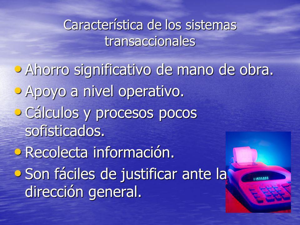 Característica de los sistemas transaccionales Ahorro significativo de mano de obra. Ahorro significativo de mano de obra. Apoyo a nivel operativo. Ap