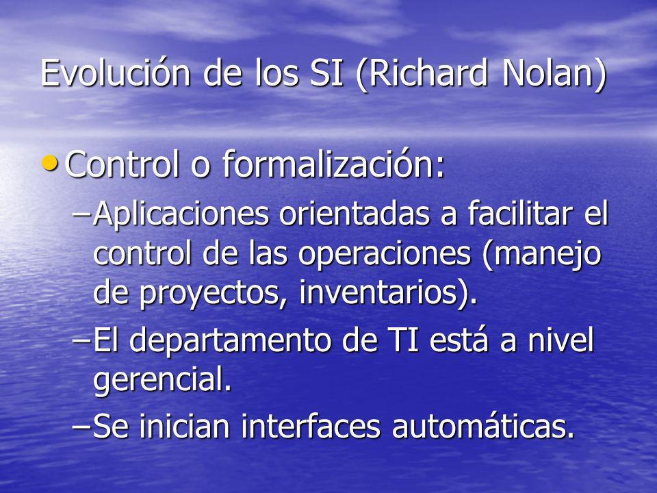 Evolución de los SI (Richard Nolan) Control o formalización: Control o formalización: –Aplicaciones orientadas a facilitar el control de las operacion