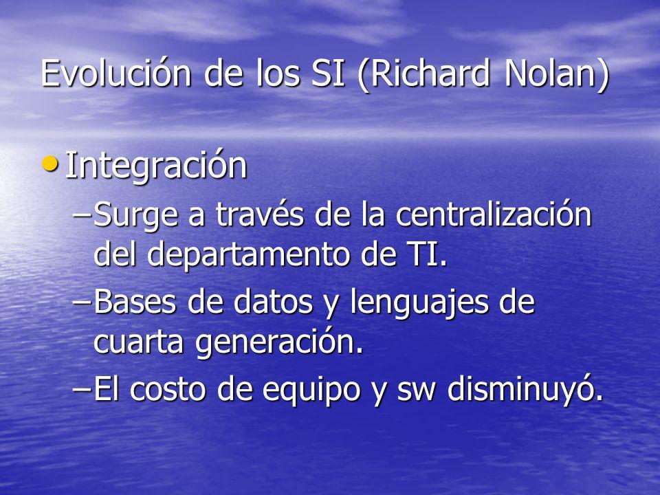 Evolución de los SI (Richard Nolan) Integración Integración –Surge a través de la centralización del departamento de TI. –Bases de datos y lenguajes d