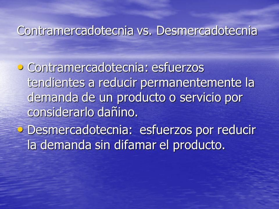 Contramercadotecnia: esfuerzos tendientes a reducir permanentemente la demanda de un producto o servicio por considerarlo dañino. Contramercadotecnia: