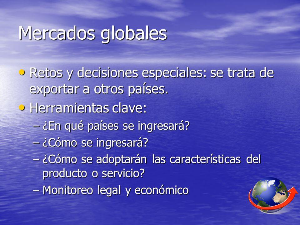 Mercados globales Retos y decisiones especiales: se trata de exportar a otros países. Retos y decisiones especiales: se trata de exportar a otros país