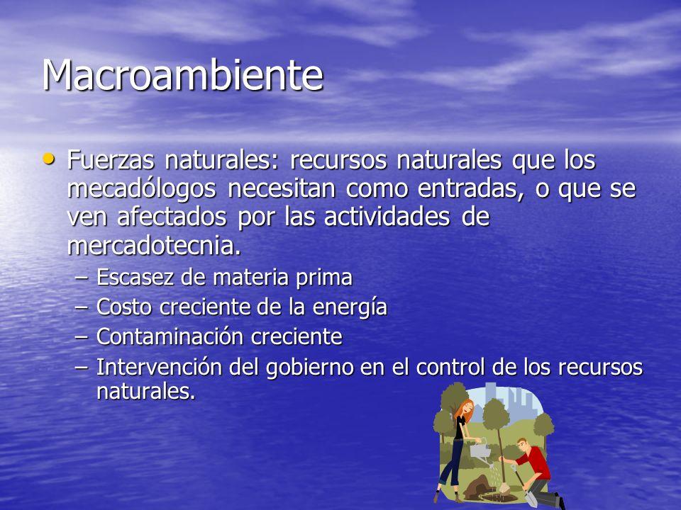 Macroambiente Fuerzas naturales: recursos naturales que los mecadólogos necesitan como entradas, o que se ven afectados por las actividades de mercado