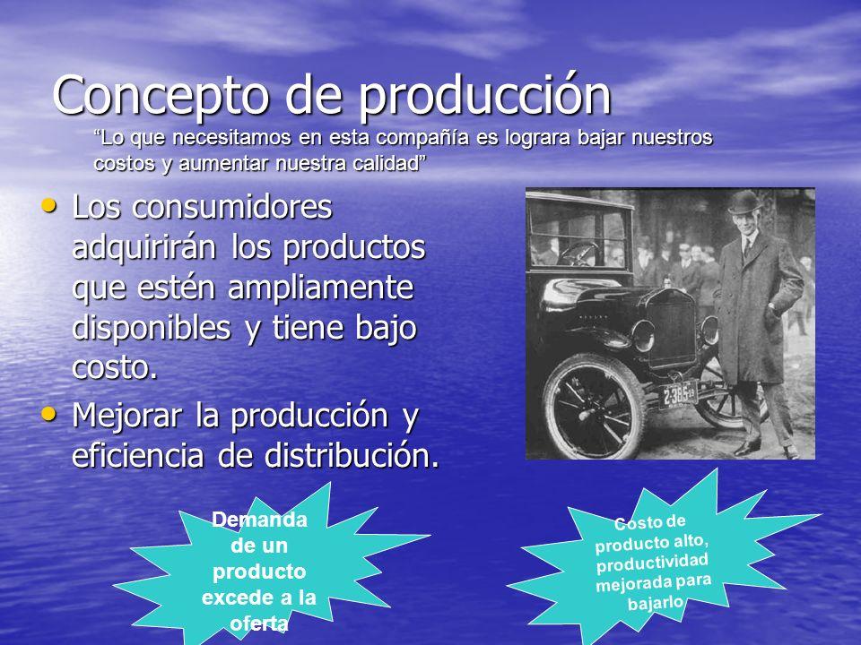 Concepto de producción Los consumidores adquirirán los productos que estén ampliamente disponibles y tiene bajo costo. Los consumidores adquirirán los