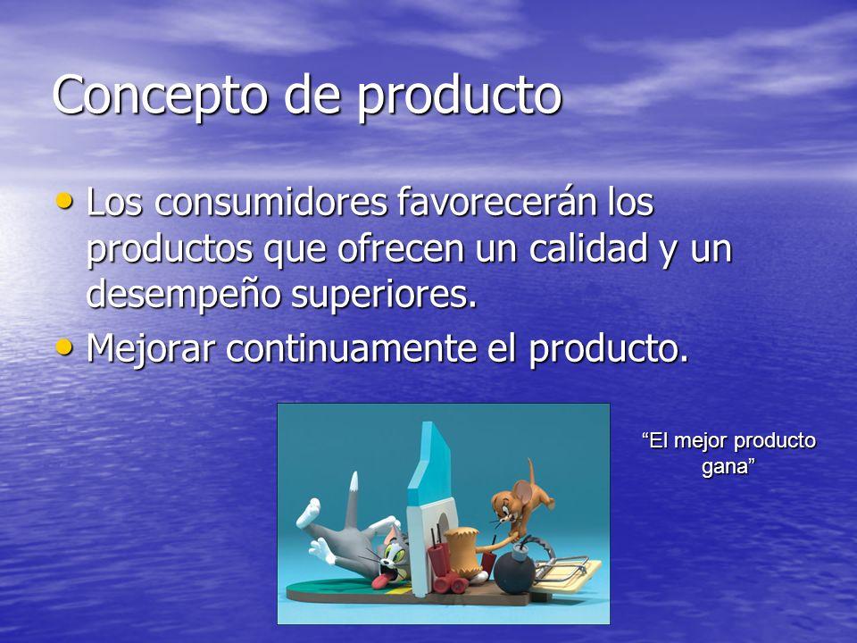 Concepto de producto Los consumidores favorecerán los productos que ofrecen un calidad y un desempeño superiores. Los consumidores favorecerán los pro