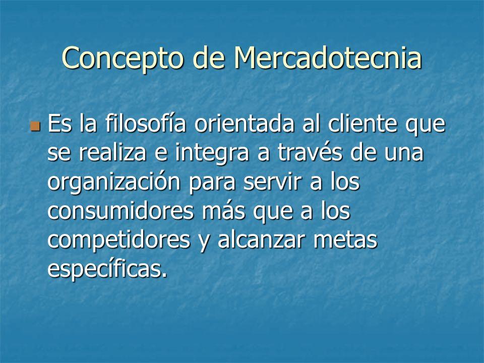 Concepto de Mercadotecnia Es la filosofía orientada al cliente que se realiza e integra a través de una organización para servir a los consumidores má