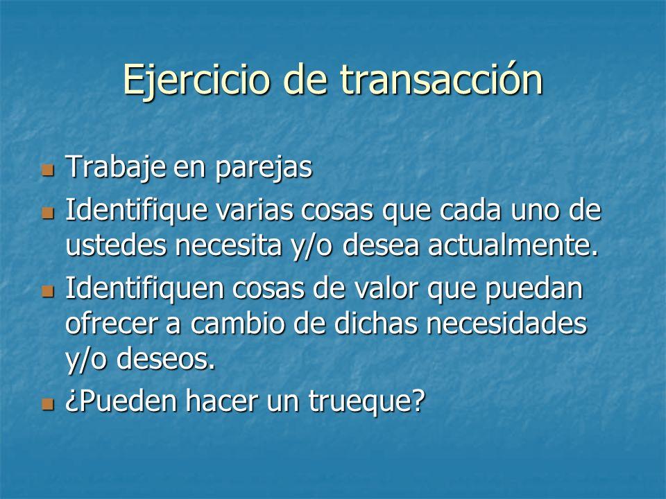 Ejercicio de transacción Trabaje en parejas Trabaje en parejas Identifique varias cosas que cada uno de ustedes necesita y/o desea actualmente. Identi