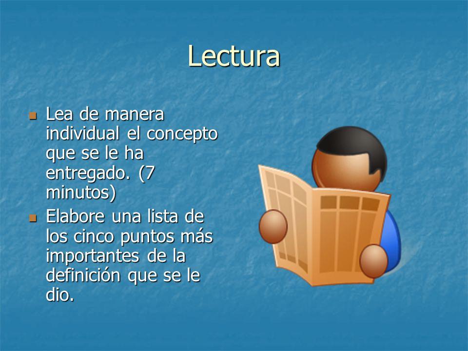 Lectura Lea de manera individual el concepto que se le ha entregado. (7 minutos) Lea de manera individual el concepto que se le ha entregado. (7 minut