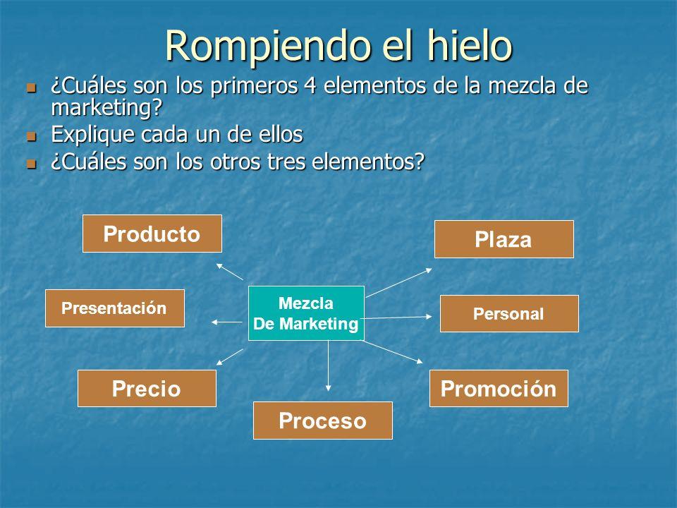 Rompiendo el hielo ¿Cuáles son los primeros 4 elementos de la mezcla de marketing? ¿Cuáles son los primeros 4 elementos de la mezcla de marketing? Exp