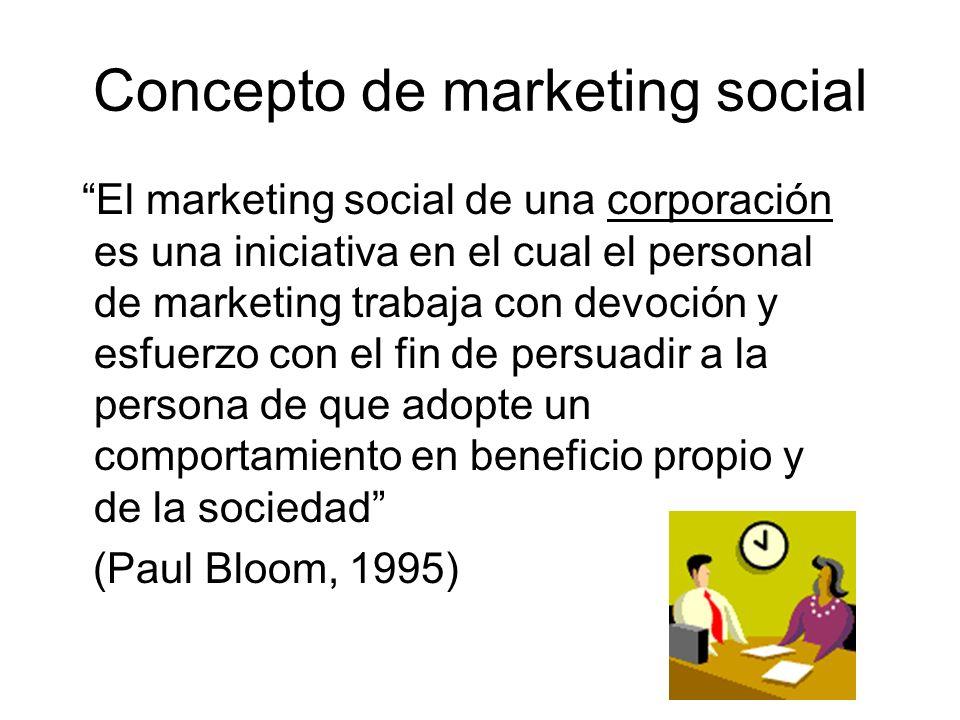 Concepto de marketing social El marketing social de una corporación es una iniciativa en el cual el personal de marketing trabaja con devoción y esfue