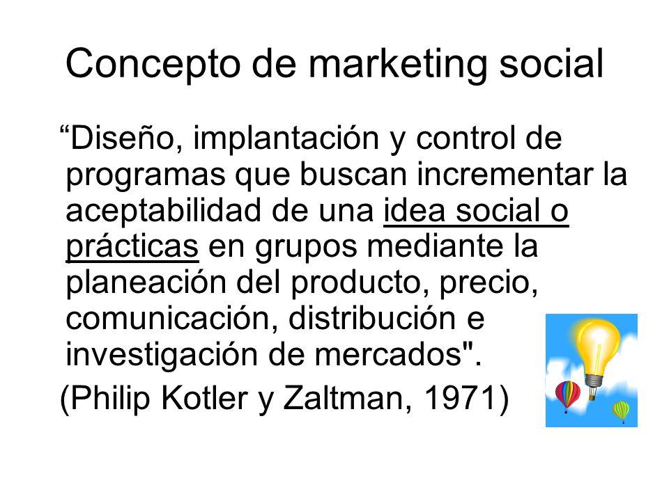 Concepto de marketing social Diseño, implantación y control de programas que buscan incrementar la aceptabilidad de una idea social o prácticas en gru