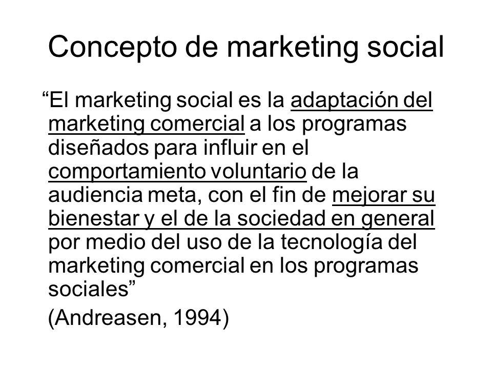 Concepto de marketing social El marketing social de una corporación es una iniciativa en el cual el personal de marketing trabaja con devoción y esfuerzo con el fin de persuadir a la persona de que adopte un comportamiento en beneficio propio y de la sociedad (Paul Bloom, 1995)