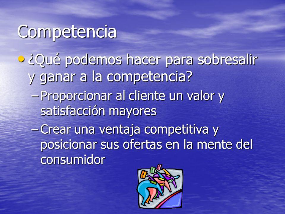 Competencia ¿Qué podemos hacer para sobresalir y ganar a la competencia? ¿Qué podemos hacer para sobresalir y ganar a la competencia? –Proporcionar al