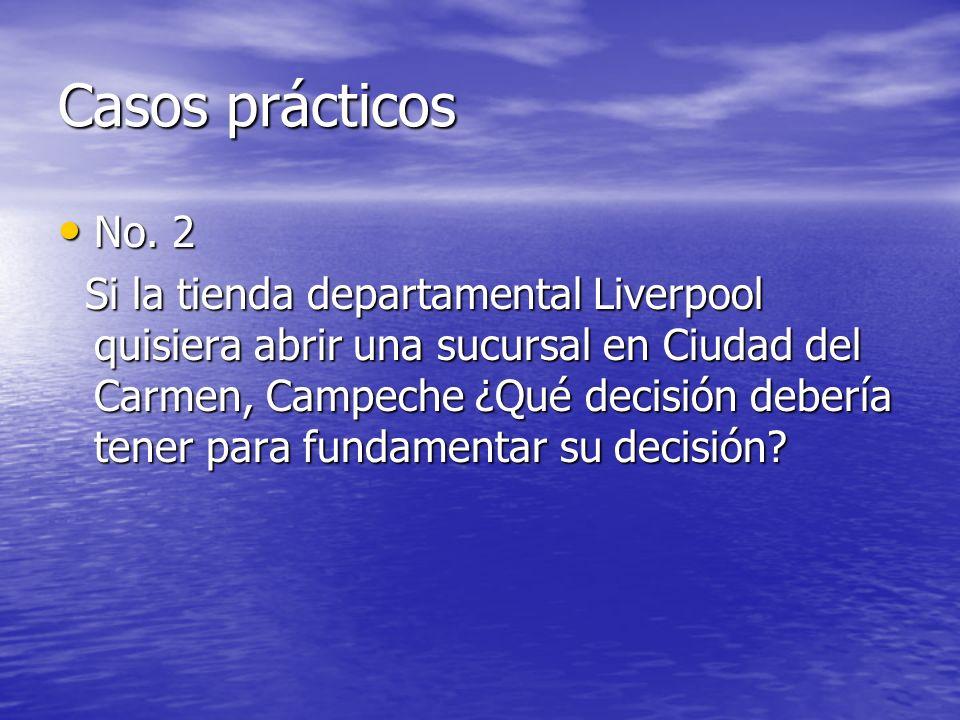 Casos prácticos No. 2 No. 2 Si la tienda departamental Liverpool quisiera abrir una sucursal en Ciudad del Carmen, Campeche ¿Qué decisión debería tene