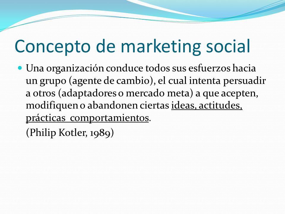 Concepto de marketing social El marketing social es la adaptación del marketing comercial a los programas diseñados para influir en el comportamiento voluntario de la audiencia meta, con el fin de mejorar su bienestar y el de la sociedad en general por medio del uso de la tecnología del marketing comercial en los programas sociales (Andreasen, 1994)