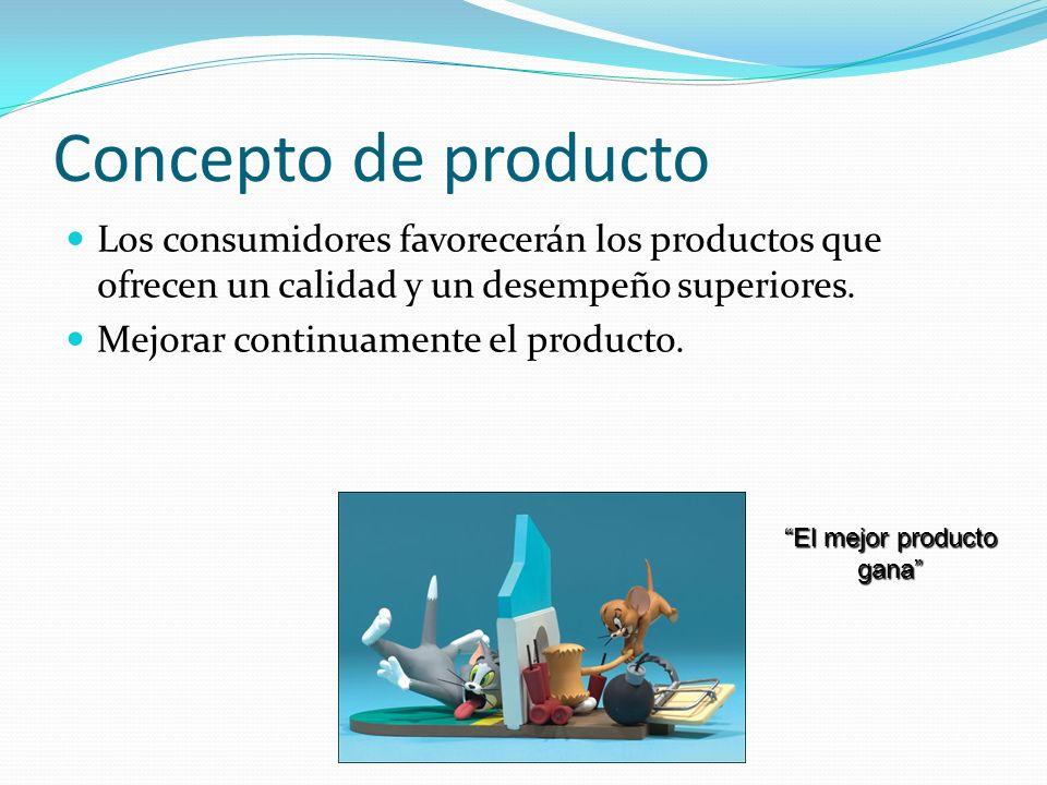 Concepto de producto Los consumidores favorecerán los productos que ofrecen un calidad y un desempeño superiores. Mejorar continuamente el producto. E