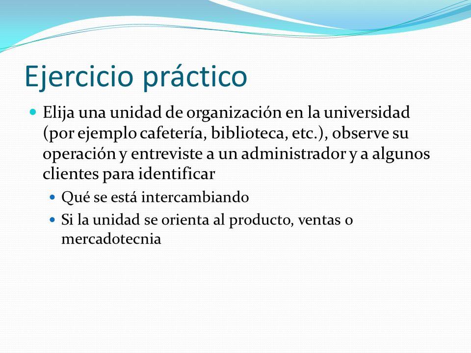 Ejercicio práctico Elija una unidad de organización en la universidad (por ejemplo cafetería, biblioteca, etc.), observe su operación y entreviste a u