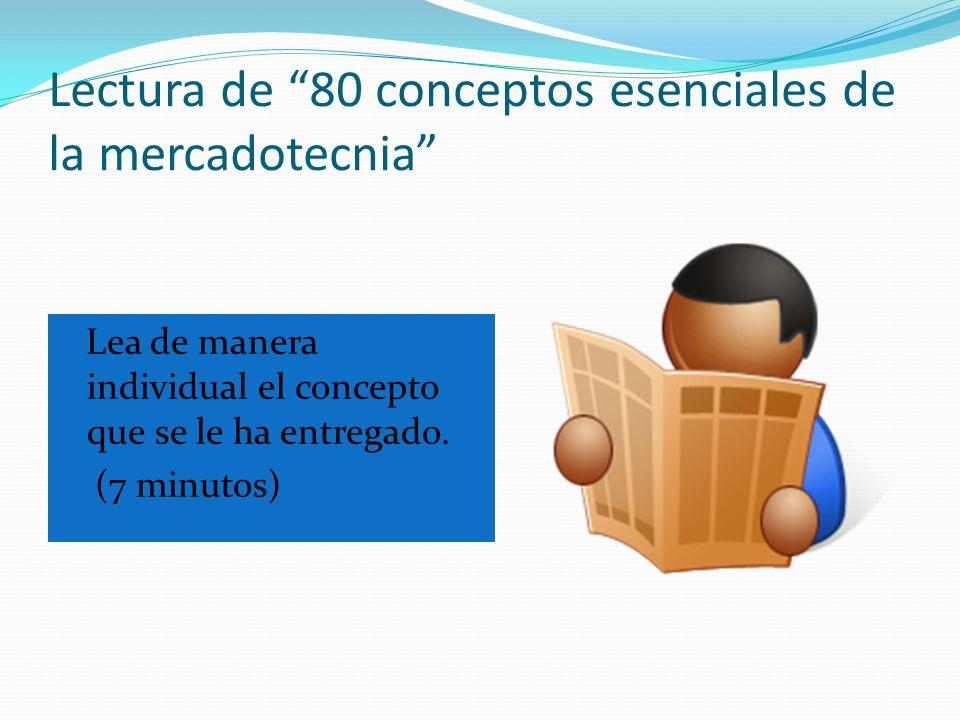 Lectura de 80 conceptos esenciales de la mercadotecnia Lea de manera individual el concepto que se le ha entregado. (7 minutos)