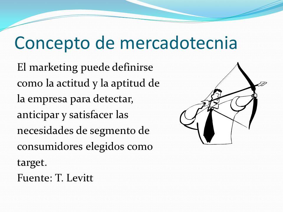 Concepto de mercadotecnia El marketing puede definirse como la actitud y la aptitud de la empresa para detectar, anticipar y satisfacer las necesidade
