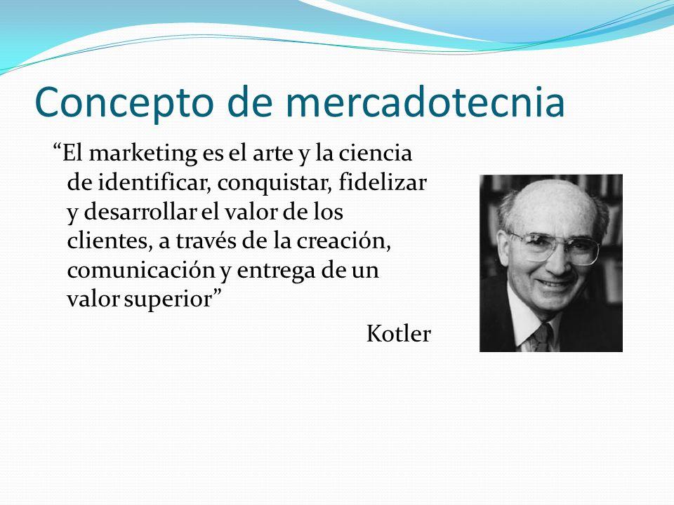 Concepto de mercadotecnia El marketing es el arte y la ciencia de identificar, conquistar, fidelizar y desarrollar el valor de los clientes, a través
