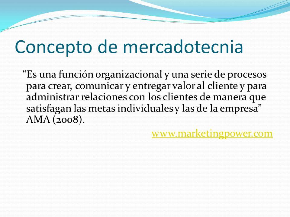 Concepto de mercadotecnia Es una función organizacional y una serie de procesos para crear, comunicar y entregar valor al cliente y para administrar r