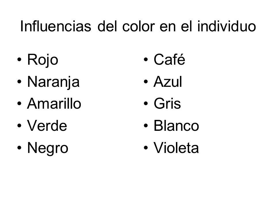 Influencias del color en el individuo Rojo Naranja Amarillo Verde Negro Café Azul Gris Blanco Violeta