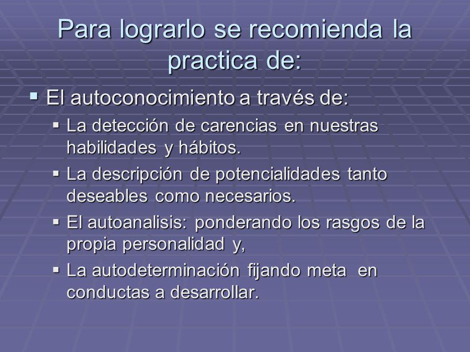 Para lograrlo se recomienda la practica de: El autoconocimiento a través de: El autoconocimiento a través de: La detección de carencias en nuestras ha