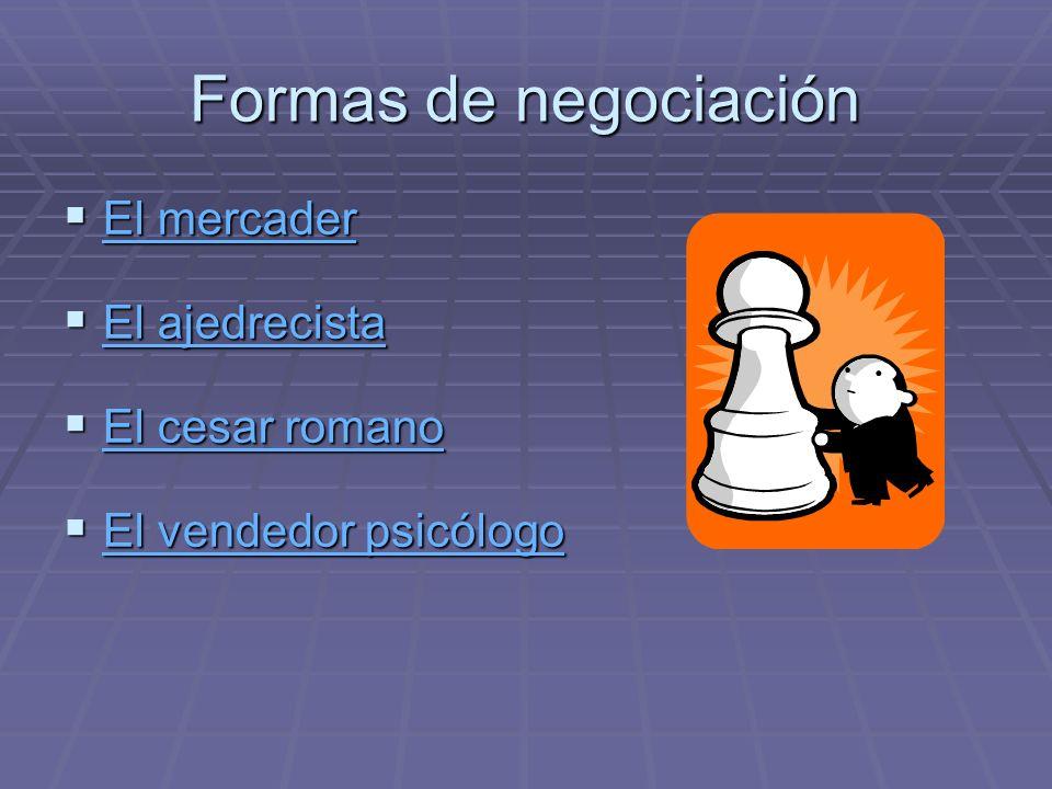 Formas de negociación El mercader El mercader El mercader El mercader El ajedrecista El ajedrecista El ajedrecista El ajedrecista El cesar romano El c