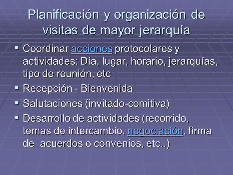 Planificación y organización de visitas de mayor jerarquía Coordinar acciones protocolares y actividades: Día, lugar, horario, jerarquías, tipo de reu