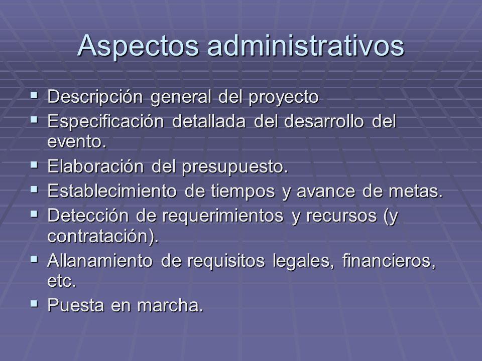 Aspectos administrativos Descripción general del proyecto Descripción general del proyecto Especificación detallada del desarrollo del evento. Especif