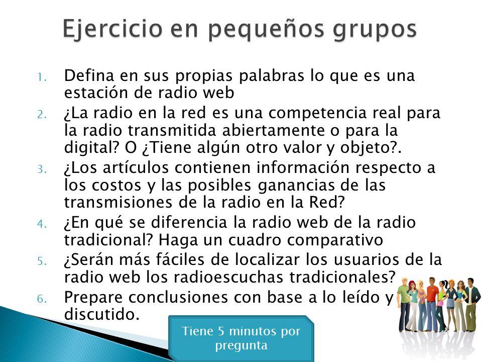 Busque web radio´o Internet radio, en artículos de Internet. Lea un mínimo de tres Artículos sobre la radio en la red. Tome notas y saque algunas conc