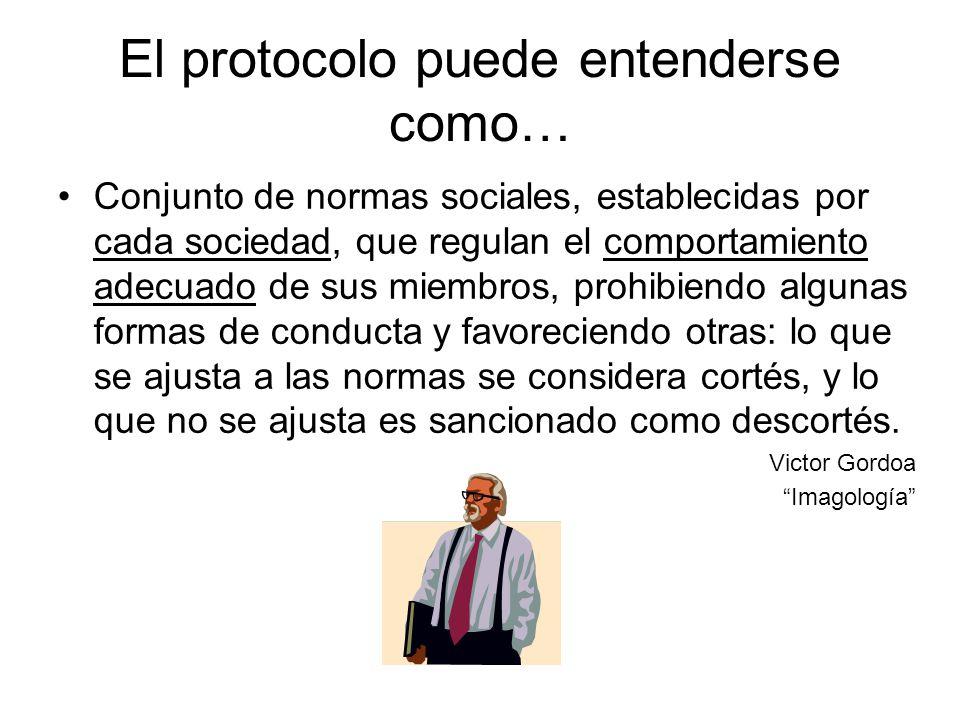 El protocolo puede entenderse como… Conjunto de normas sociales, establecidas por cada sociedad, que regulan el comportamiento adecuado de sus miembro