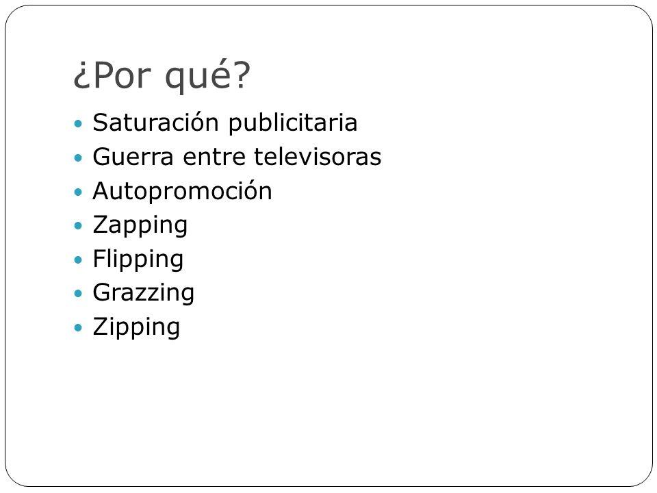 ¿Por qué? Saturación publicitaria Guerra entre televisoras Autopromoción Zapping Flipping Grazzing Zipping