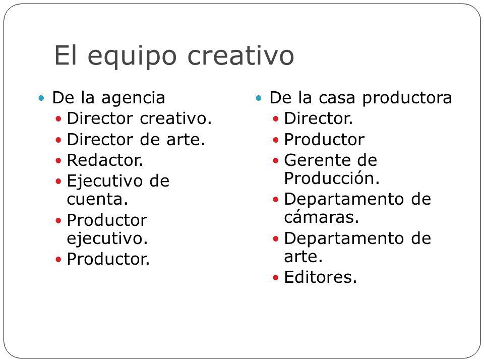 El equipo creativo De la agencia Director creativo. Director de arte. Redactor. Ejecutivo de cuenta. Productor ejecutivo. Productor. De la casa produc
