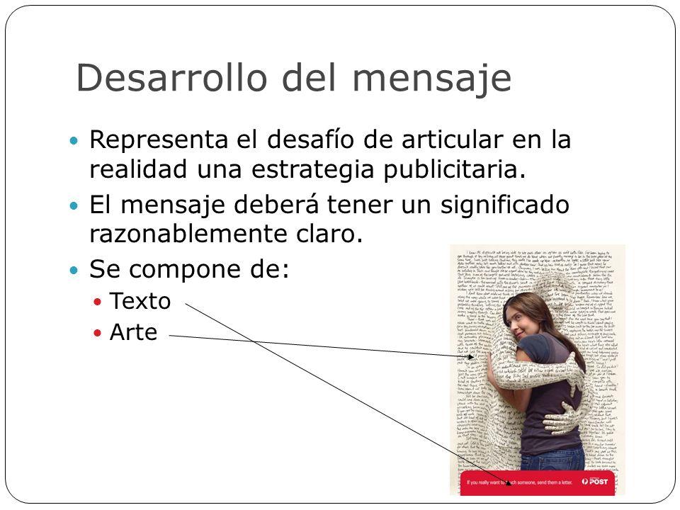 Desarrollo del mensaje Representa el desafío de articular en la realidad una estrategia publicitaria. El mensaje deberá tener un significado razonable