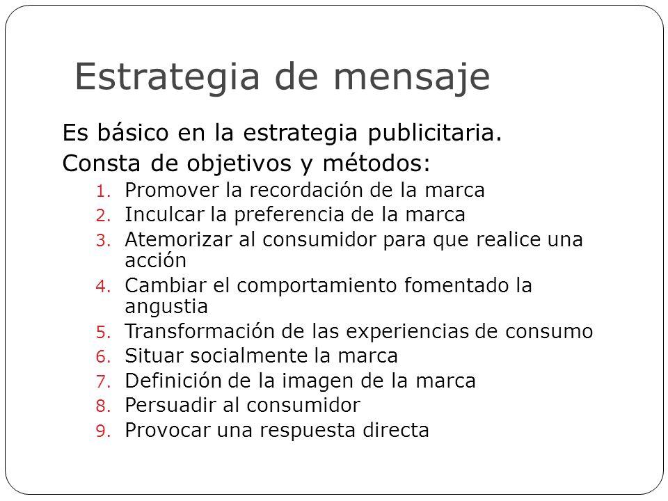 Estrategia de mensaje Es básico en la estrategia publicitaria. Consta de objetivos y métodos: 1. Promover la recordación de la marca 2. Inculcar la pr