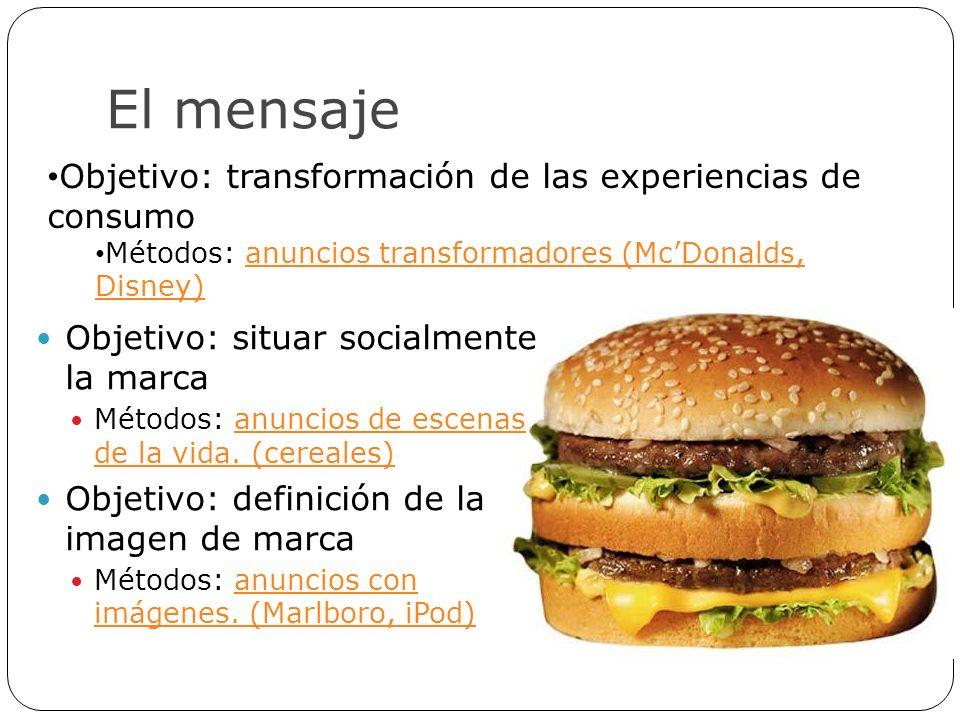 El mensaje Objetivo: situar socialmente la marca Métodos: anuncios de escenas de la vida. (cereales)anuncios de escenas de la vida. (cereales) Objetiv