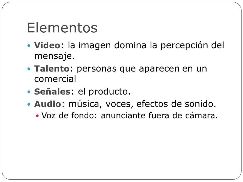 Elementos Video : la imagen domina la percepción del mensaje. Talento : personas que aparecen en un comercial Señales : el producto. Audio : música, v