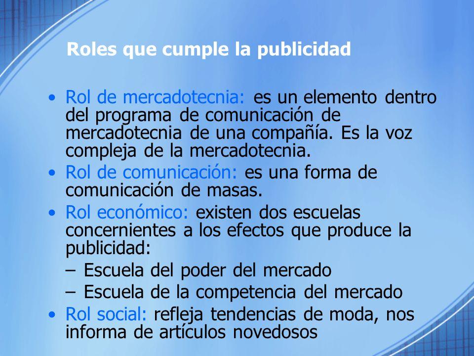 Roles que cumple la publicidad Rol de mercadotecnia: es un elemento dentro del programa de comunicación de mercadotecnia de una compañía.