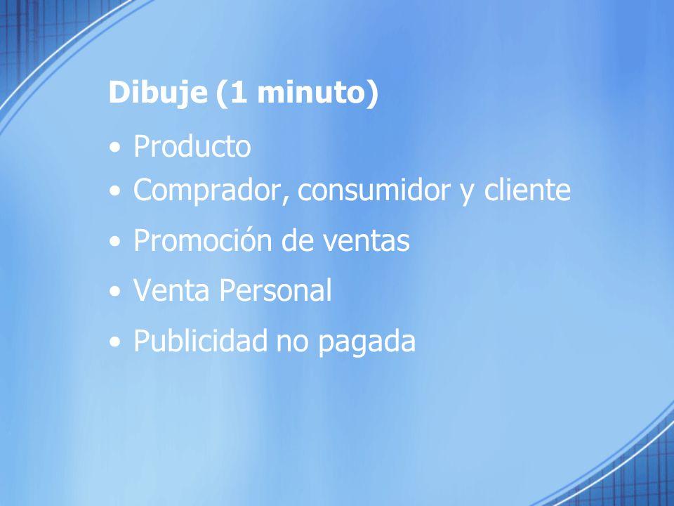 Dibuje (1 minuto) Producto Comprador, consumidor y cliente Promoción de ventas Venta Personal Publicidad no pagada