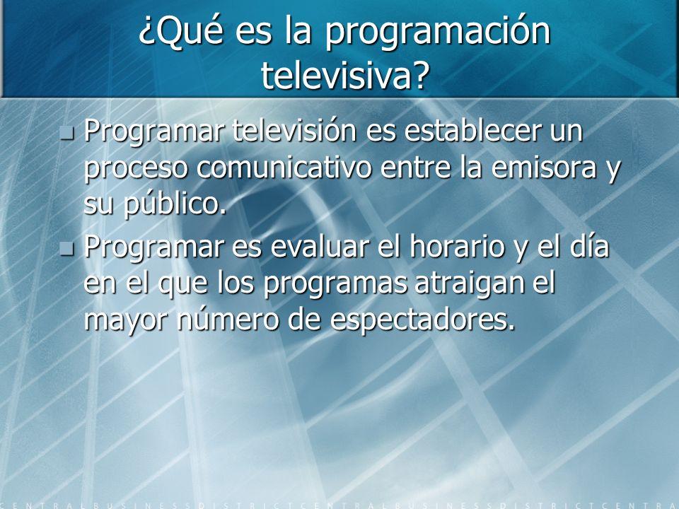 ¿Qué es la programación televisiva? Programar televisión es establecer un proceso comunicativo entre la emisora y su público. Programar televisión es