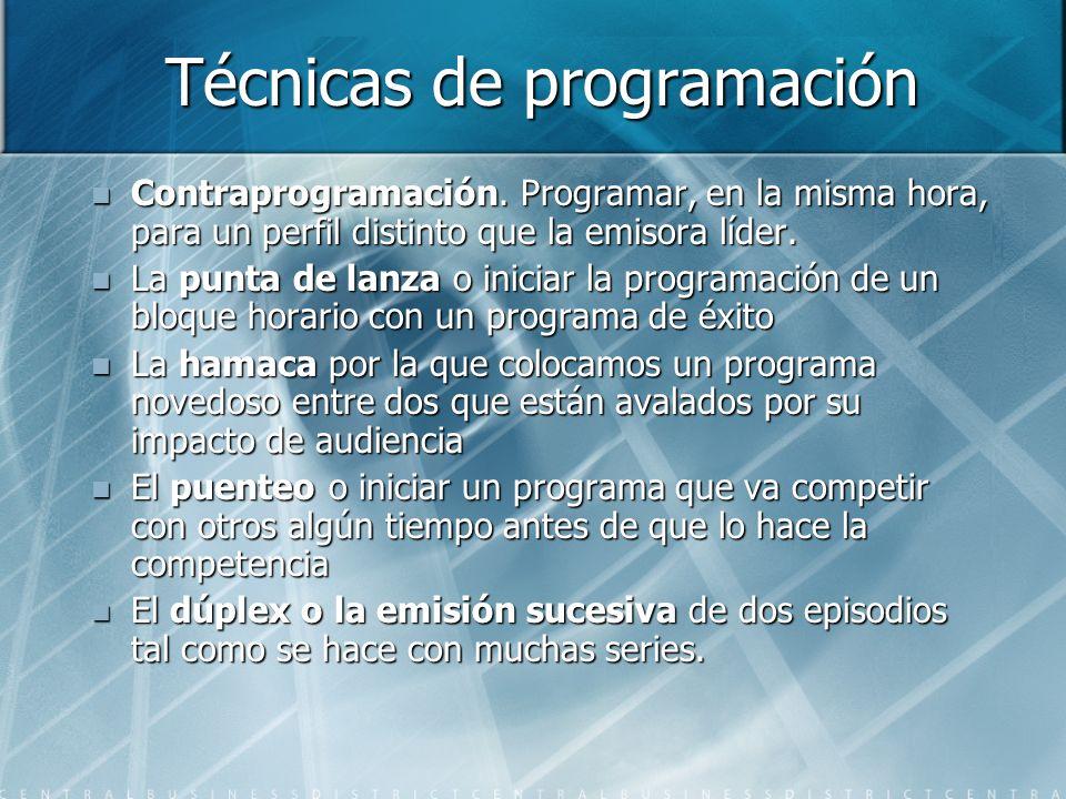 Técnicas de programación Contraprogramación. Programar, en la misma hora, para un perfil distinto que la emisora líder. Contraprogramación. Programar,