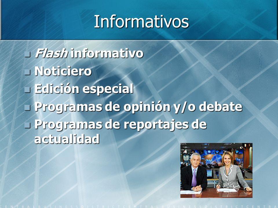 Informativos Flash informativo Flash informativo Noticiero Noticiero Edición especial Edición especial Programas de opinión y/o debate Programas de opinión y/o debate Programas de reportajes de actualidad Programas de reportajes de actualidad