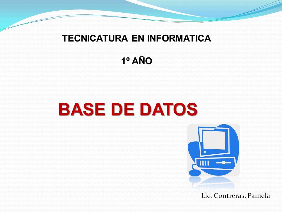 TECNICATURA EN INFORMATICA 1º AÑO BASE DE DATOS Lic. Contreras, Pamela