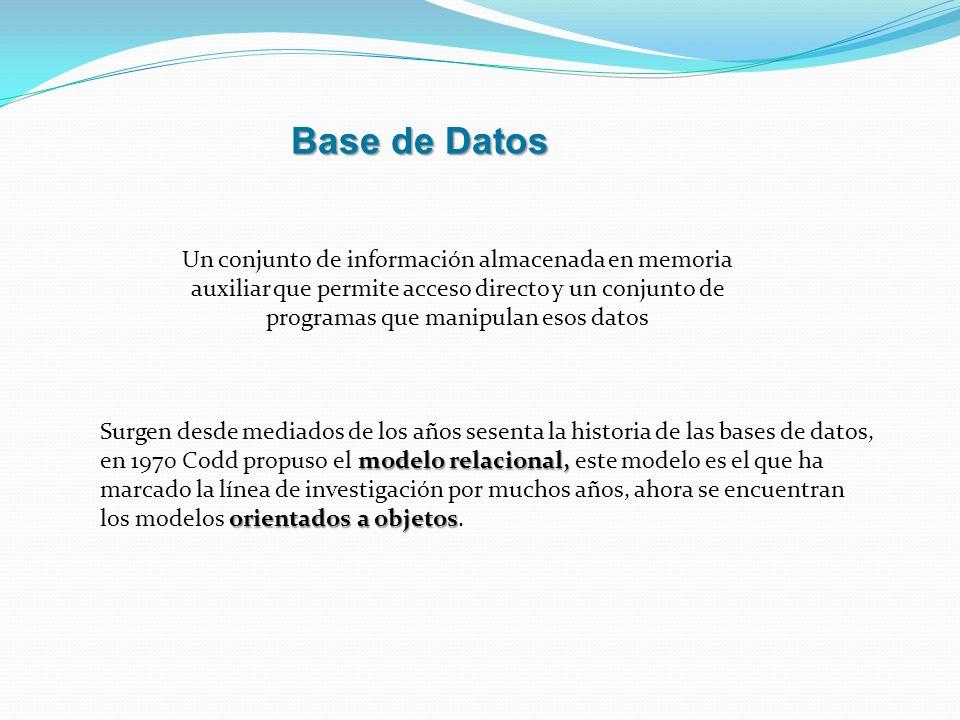 Base de Datos Un conjunto de información almacenada en memoria auxiliar que permite acceso directo y un conjunto de programas que manipulan esos datos
