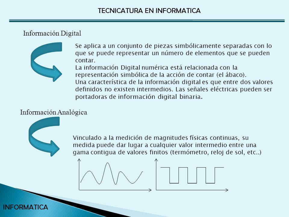 TECNICATURA EN INFORMATICA INFORMATICA El sistema operativo se ocupa de los datos almacenados en disco y CD ROM.