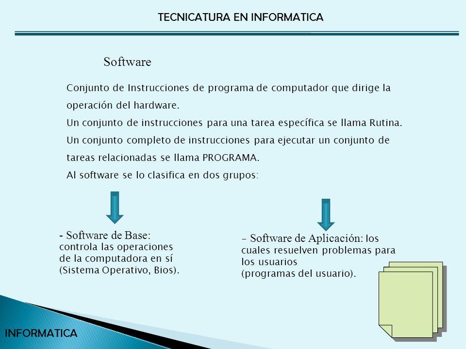 TECNICATURA EN INFORMATICA INFORMATICA Únicamente pueden controlar la ejecución de un solo programa a la vez.