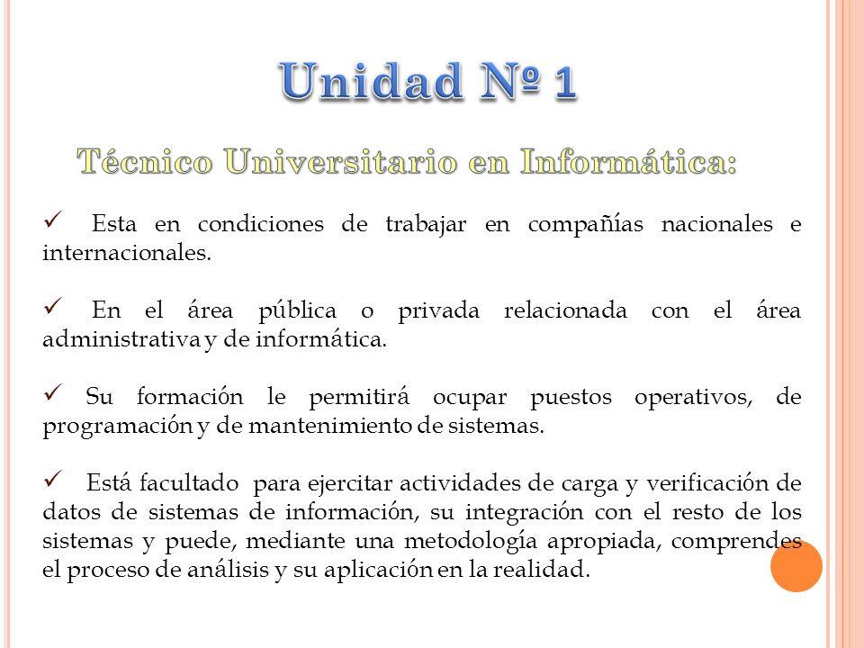 Esta en condiciones de trabajar en compa ñí as nacionales e internacionales.