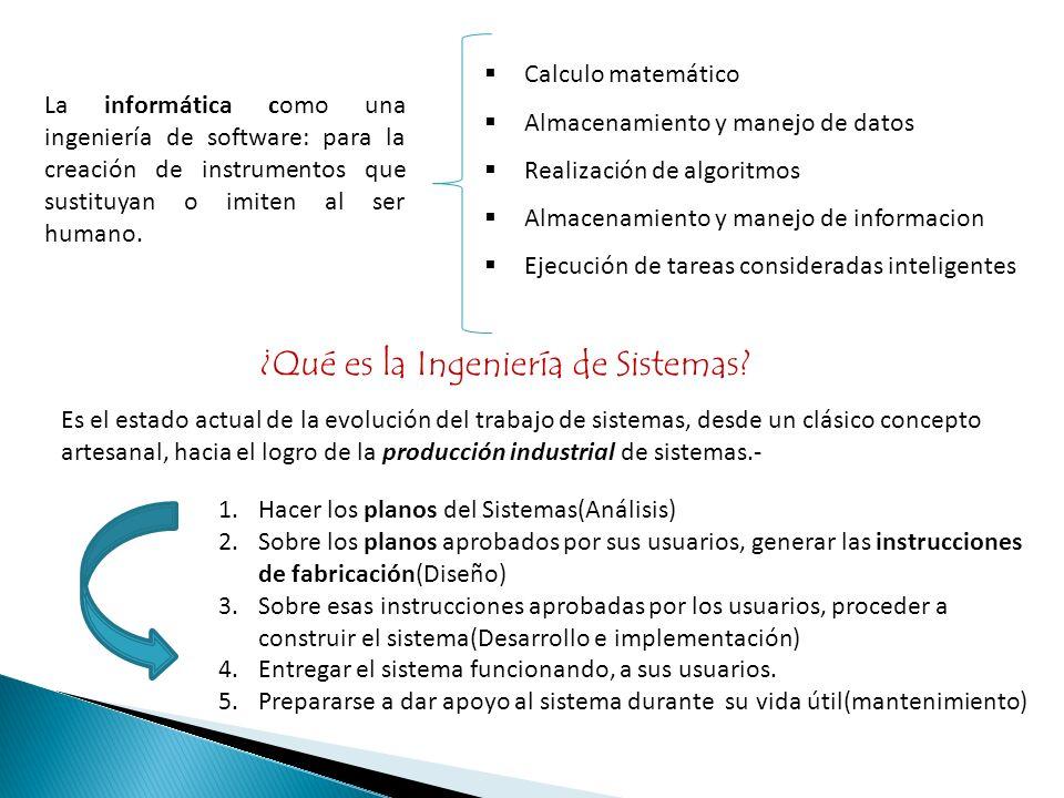 La informática como una ingeniería de software: para la creación de instrumentos que sustituyan o imiten al ser humano. Calculo matemático Almacenamie